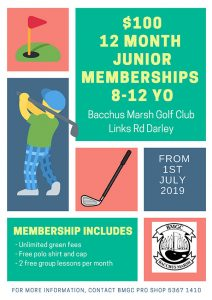 Junior Boys Golf Memberships available at BMGC from 1st July 2019