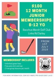 Junior Girls Golf Memberships at BMGC from 1st July 2019