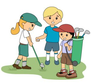 Children playing golf - Vector